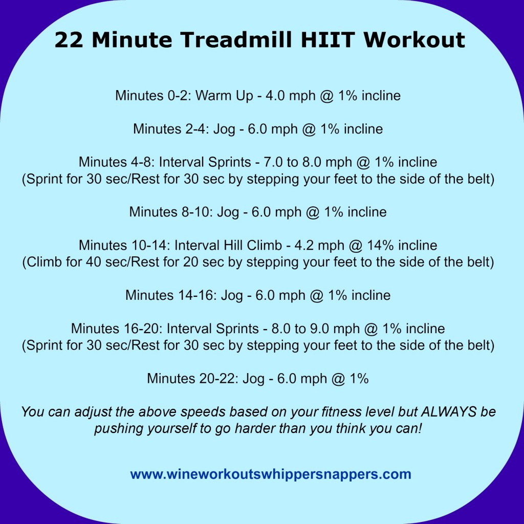 22 Minute Treadmill HIIT jpg - Wine, Workouts, and