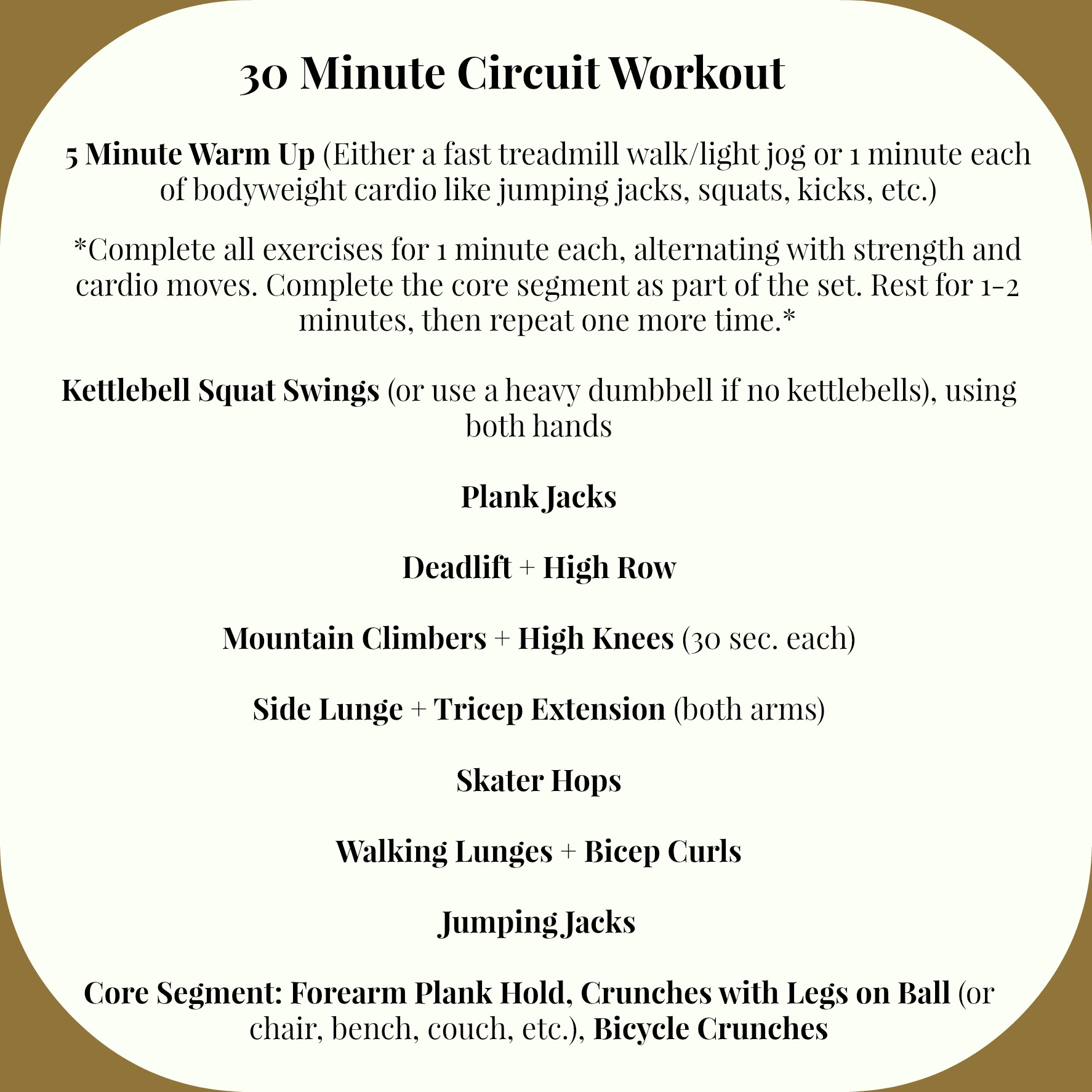 30 Minute Circuit Workout