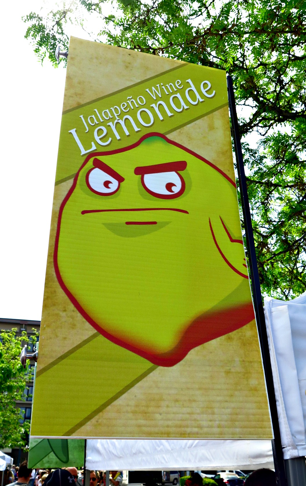 The banner you'll find at our booths at both markets. How can you not stop and look at this guy?